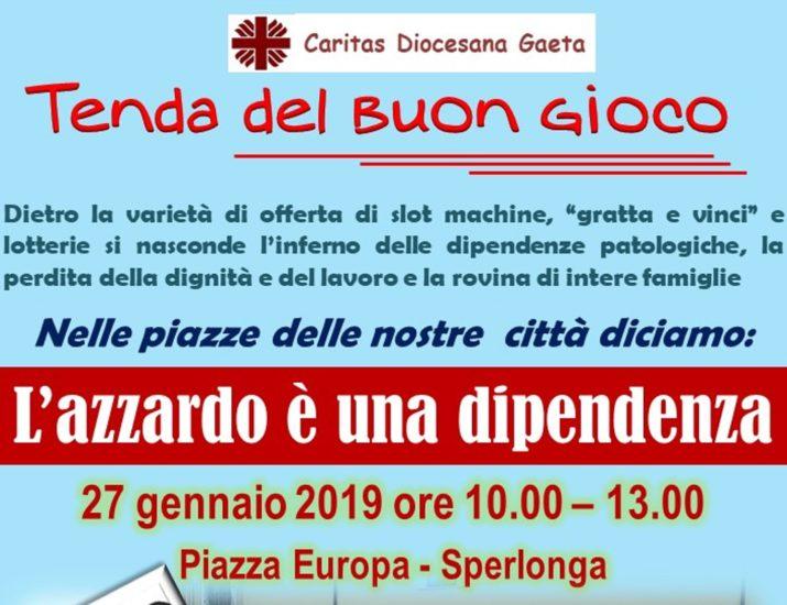 Caritas contro l'azzardo: prossima Tenda del Buon Gioco a Sperlonga il 27 gennaio