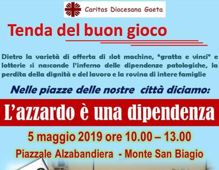 Caritas contro l'azzardo: prossima Tenda del Buon Gioco a Monte S. Biagio il 5 maggio